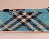 Dog Collar - Dog,  Martingale or Cat Collar  -  All Sizes -  Turquoise, Blue, Black and Yellow Plaid