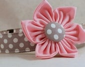 Dog Collar  with Flower - Grey and White Polka Dots - All Sizes