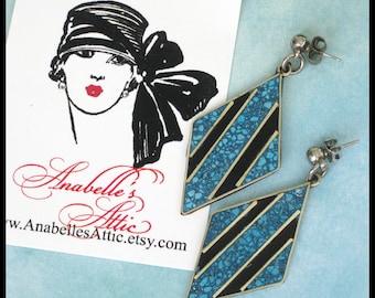 Sterling Silver, Chip Turquoise & Black Earrings / Diamond Shape Dangle / Drop Post Earrings / 5.25 Grams / BOHO / Mexico / Estate Jewelry