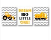 Dream Big Little One ArT // Construction Nursery Decor // Construction Wall Art // Construction Trucks Art Prints // Three PRINTS ONLY