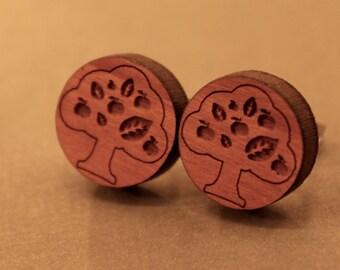 Wooden Tree Studs: Cherry Wood Tree Earrings, Fake Plugs, Fake Tree Plugs, Tree Plugs, Tree of Life, Nature Studs,