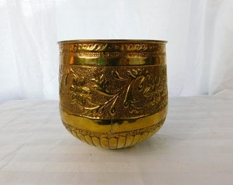 Vintage Hand Tooled Brass Flower Pot or Decoration  Box ii