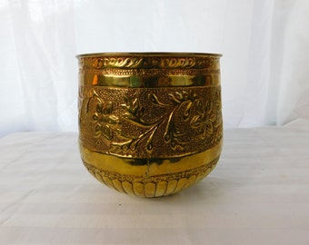 Vintage Hand Tooled Brass Flower Pot or Decoration  Box ii