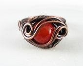 Wire Wrapped Ring Genuine Orange Agate Ring Dragon's Eye Ring Wire Wrapped Jewelry Copper Ring Size 8 Copper Jewelry Agate Jewelry