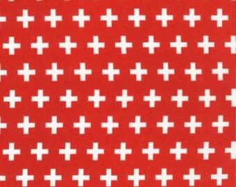 END of BOLT ~ 8in ~ Remix Red Plus Sign Fabrics Robert Kaufman Basics Stash Builder Anne Kelle SALE