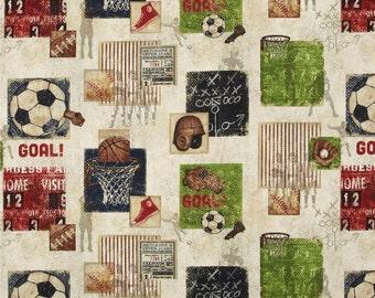 SALE Vintage Varsity Wilmingtn Fabrics Stephanie Marrott Sampler in Natural Soccer Basketball Baseball Football