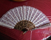 Vintage 1950s to 1960s Gold/White Metallic Lace/Tortoise Looking Hand Held Fan Not Perfect
