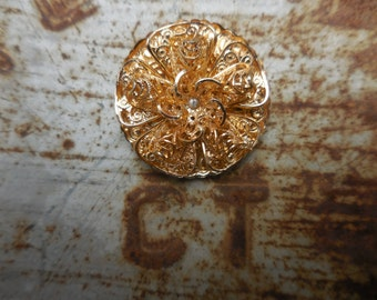 Vintage 1960s to 1970s Gold Tone Filigree Scarf Clip Accessory Western Germany Eloxal