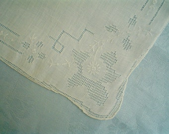 Vintage Hankie with Drawn-Thread Flowers Hand Embroidered White Linen Handkerchief