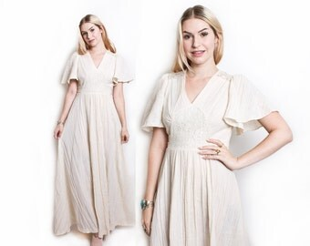 Vintage 70s Dress - Cotton Gauze White Lace Crochet Maxi Hippie Boho Dress - Small