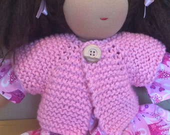 Organic Cotton Sweater for 16-inch Waldorf Doll  Hand Knit Cardigan Sweater for Waldorf Dolls  **Pink Parfait**