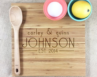 Personalized Engraved Bamboo Cutting Board, Custom Names and Established Year, Personalized Wedding, Anniversary or Housewarming Gift