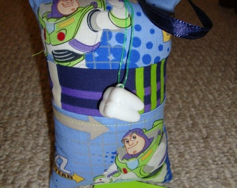 Tooth Fairy Pillow with tooth holder: Toothfairypillow, Plastic tooth holder, Space Ranger, Blue, Green, Tooth, Fairy