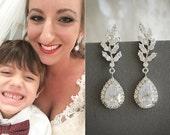 Bridal Earrings, Wedding Earrings, Crystal Leaf Wedding Earrings, Zirconia Teardrop Dangle Stud Earrings, Art Deco Bridal Jewelry, CINDY