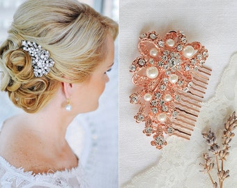 Rose Gold Bridal Hair Comb, Crystal Wedding Hair Comb, Crystal Ribbon Bow Hair Comb, Swarovski Pearl Cluster Hair Accessories, CADENCE