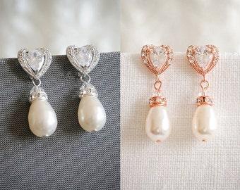 Wedding Bridal Earrings, Crystal Wedding Earrings, Art Deco Heart Dangle Earrings, Vintage Style Pearl Drop Earrings, Bridal Jewelry, EVELYN