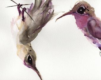 Large Hummingbird Art Print,  12 x 16 Bird Art