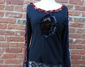 Upcycled Top,Cottage Chic Top,Funky Top,Boho Top,by Nine Muses Of Crete