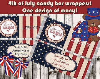 Set of 10. Patriotic candy bar wrappers, personalized candy bar wrappers, 4th of July candy bar wrappers, July 4th Party favors