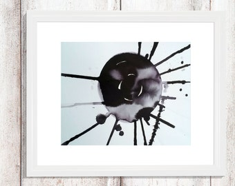 Original abstract ink painting - black and white, explosion, zen art, gestual art, abstract art on watercolor paper