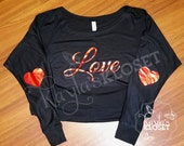 "Ladies Slouchy ""Love"" Valentine's Day Top with Heart Elbow Patches, Women's Valentine's Day top"