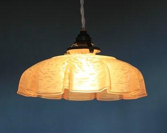 French Antique Glass Ceiling Light, Pink Marbled Glass 1930s