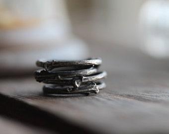 Artemis ; Sterling Silver Branch Twig stack ring