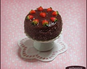 Miniature dollhouse chocolate cake, dollhouse food, 12th scale made from polymer clay, miniature bakery