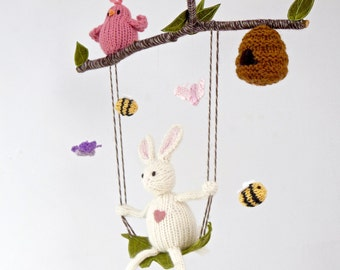 Bunny Mobile, Baby Mobile, Crib Hanging Mobile, White Bunny Nursery Mobile, White Nursery, Pastel Nursery, Bee and Bird Baby Mobile, Knit