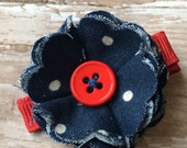 Navy Blue White Polka Dots Frayed Fabric Flower Hair Clip Clippie Babies, Toddlers, Girls