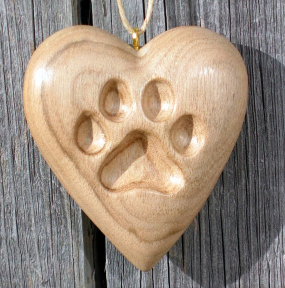 Paw print heart wood carving dog or cat ornament hand carved