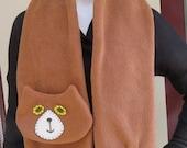 Light Brown Flat Cat Fleece Scarf - Limited Edition