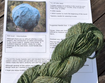 Hand-dyed Cable Hat, Entangled Knitting KIt