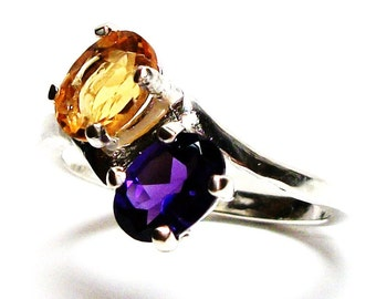 "Amethyst, amethyst citrine ring, 2 stone ring, birthstone ring, sweetheart ring, purple yellow ring, s 6 1/2     ""Marigold"""