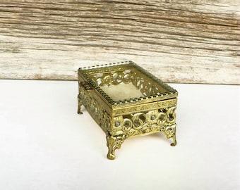 Filigree Jewelry Box Gold Tone Metal Trinket Box 1960s Keepsake Vanity  Box