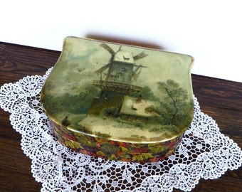 Antique Celluloid  Vanity Box Windmill Scene Edwardian Dresser Box Shabby Cottage Chic Keepsake Box Early 1900s Vanity Storage Box