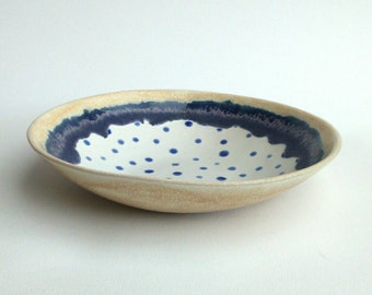 Spotty dotty indigo blue Pottery bowl
