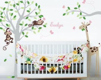 2 Girl Monkeys, giraffe, Butterflies and Custom Name - Nursery Wall Decal