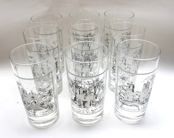 Drinking Glasses Texas New Mexico Missions Souvenir Drinking Glass Set of Nine