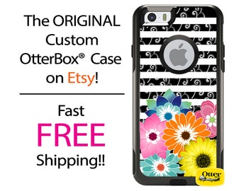 iPhone OtterBox Commuter Case for iPhone 7, 7 Plus, 6/6s, 6 Plus/6s Plus, 5/5s/SE, 5c Galaxy S7 S6 S5 Note 5 Monogrammed Floral Stripe Swirl