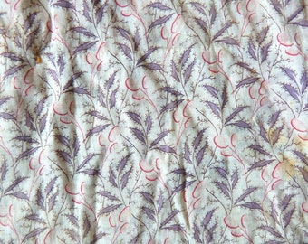 Antique 19th Century Cotton Lawn Skirt Cutter Fabric Floral Leaf Print Quilt Repair Doll Clothing Upcycle