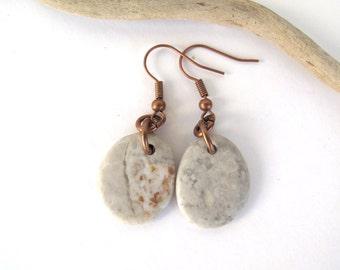 Jewelry Beach Stone Earrings Mediterranean Beach Pebble Natural Rock River Stone Earrings Rustic Jewelry Beach Pebble Copper SNOW DROPS