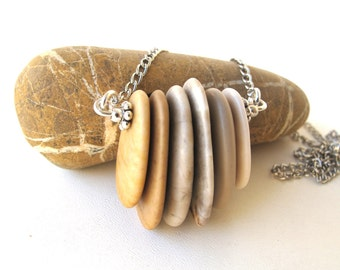 Stone Necklace Beach Stone Necklace Rock Jewelry Mediterranean Natural Stone Jewelry Gift for Her River Stone Necklace Silver - SWEET n SOUR