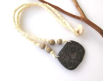 Stone Necklace Beach Stone Choker Mediterranean Pebble Choker Natural Stone Necklace River Stone Jewelry Hemp Cord Jewelry Beige STOA