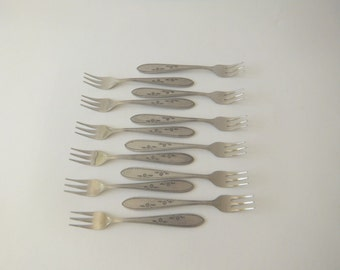 Vintage 12 Stainless Cocktail Seafood Forks, Flower Dance by Imperial Stainless, One Dozen Forks