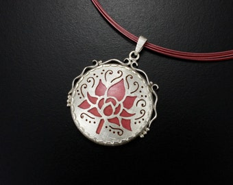 Red copper Lotus flower pendant necklace, open work silver lacy pendant necklace, hidou jewelry