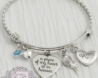 Memorial Jewelry,Loss of Mother Bracelet,Remembrance, Dad Memorial, Loss of Daughter,A piece of my heart is in heaven, wing, BANGLE Bracelet
