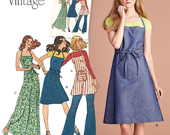 Simplicity Pattern 8073 Misses' Vintage 1970s Apron Dress in 3 Lengths Sizes 12-20 New