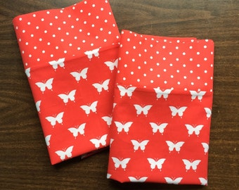Red and white Butterfly Pillow Case  Set Standard/queen red and white polka dot cuff