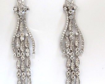 6.00ct natural diamonds modern dangle wishbone petal chandelier earrings 18kt